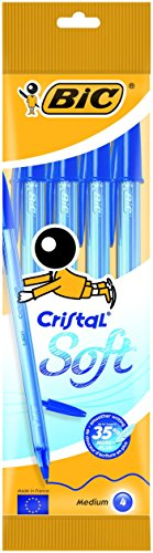 BIC Cristal Soft bolígrafos punta media (1,2 mm) - Azul, Blíster de 4 unidades