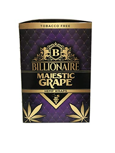 Billionaire Hemp Wraps! Organic Wraps, Tobacco Free! – (Majestic Grape, 25 Packs)
