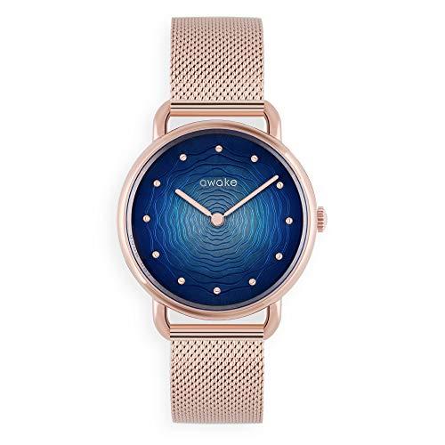 AWAKE – Reloj solar para mujer, ecológico, modelo ODYSSEE CANOPA, impermeable, 50 m, marca francesa, correa de malla de acero, diámetro 34 mm
