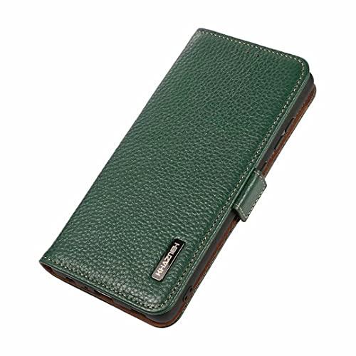 Coque 6plus,6splus Estuche para Huawei P50 Pro Funda,Cuero magnético Lateral patrón de Lychee RFID Cepillo antirrobo Estuche para teléfono para Huawei P50 Pro-Verde