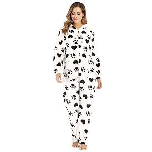 Xegood Pijama Mono Mujer Invierno Franela Pijamas de una Pieza Cálido Cosplay Animal Disfraces Halloween Carnaval Cosume Amor y Huellas 2XL