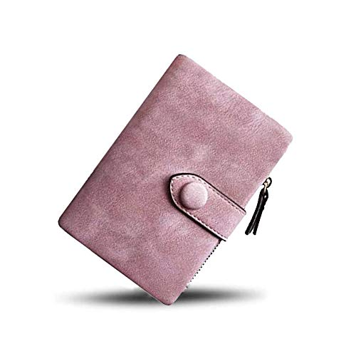 Women Small Bifold Leather Wallet Mini Vintage Card Holder Wallet Ladies Coin Purse with ID Card Window