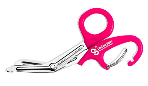 "EMT Trauma Shears with Carabiner - 7.5"" Stainless Steel Bandage Scissors for Surgical, Medical & Nursing Purposes - Sharp Curved Scissor is Perfect for EMS, Doctors, Nurses, Cutting Bandages [Pink]"
