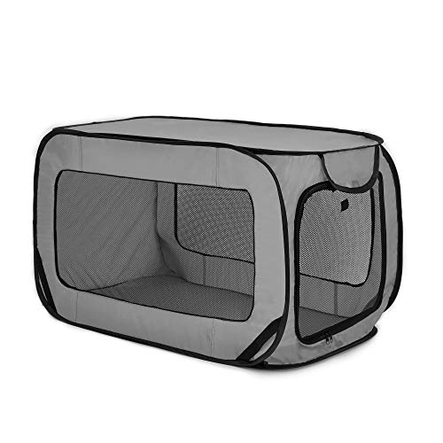 Love's cabin 36in Portable Large Dog Bed - Pop Up Dog Kennel, Indoor Outdoor Crate for Pets, Portable Car Seat Kennel, Cat Bed Collection, Grey