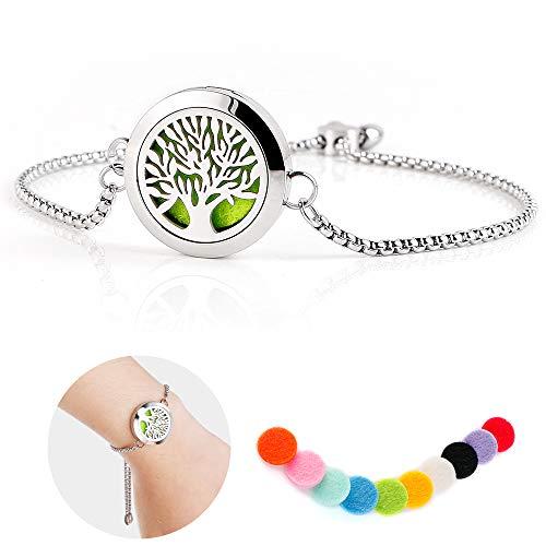 Maromalife Diffuser Bracelet Adjustable Slide Healing Bracelet Stainless Steel Locket Tree of Life with 10 Felt Pads