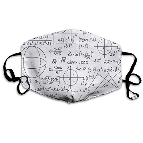 Mundschutz Atmungsaktive Gesichtsmundabdeckung Staubdichte Schule Genius Smart Student Mathematik Geometrie Wissenschaft Zahlen Formeln Bildkunst, Gesichtsdekorationen