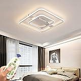 Luz de techo LED 54W regulable lámpara de sala de estar con control remoto diseño creativo minimalista moderno acrílico metal luz decorativa cuadrado blanco dormitorio