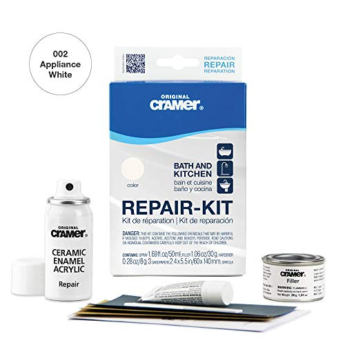 Cramer 16002US Tub Repair-Kit Enamel Acrylic Porcelain Ceramic – Appliance White – Bathtub, Shower Tray, Basin and Sink Refinishing