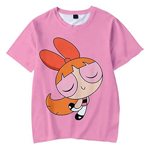 ZWH La Moda Coreana del Estilo de impresión de Dibujos Animados Camisetas Verano 2020 Nuevo de Kawaii Botón de Oro supernenas Harajuku Mujeres Ulzzang Hip-Hop (Color : Pink, Size : 160)