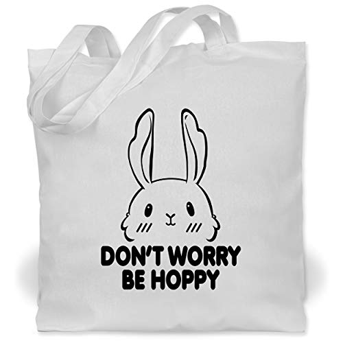 Shirtracer Statement - Don\'t worry be hoppy - schwarz - Unisize - Weiß - statement tasse - WM101 - Stoffbeutel aus Baumwolle Jutebeutel lange Henkel
