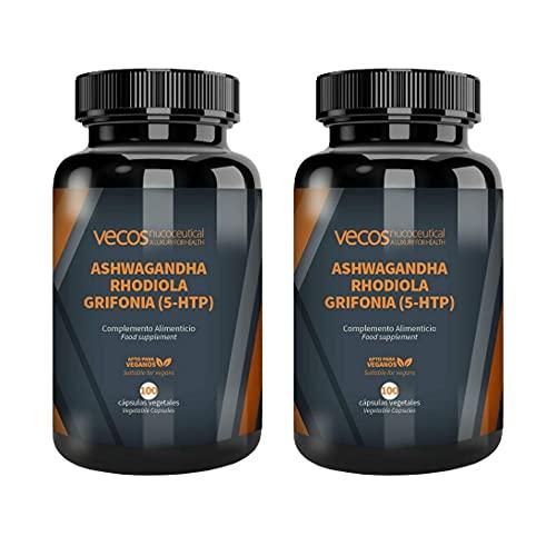 Adaptógeno Vecos con Ashwagandha 600 mg, Rhodiola 300 mg y Grifonia 400 mg (con 40 mg de 5-HTP) por dosis - Para Estrés, ansiedad, fatiga y mejorar estado de ánimo - Apto para Veganos