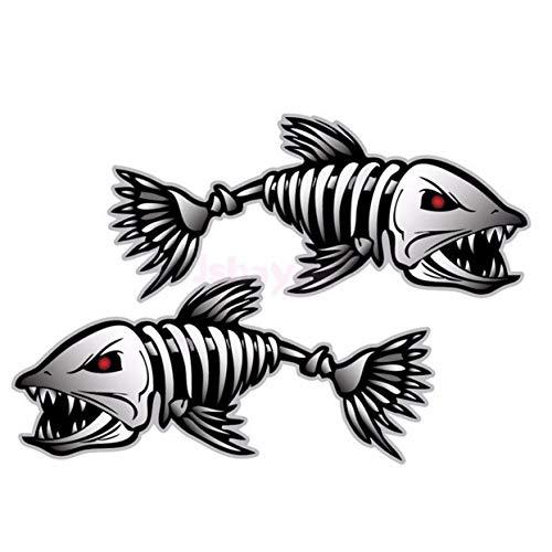 LoveOlvido 2 Piezas Esqueleto Huesos de Pescado R&L calcomanías de Vinilo Pegatinas Kayak Barco de Pesca Coche (C022) Accesorios para vehículos Piezas - Multicolor