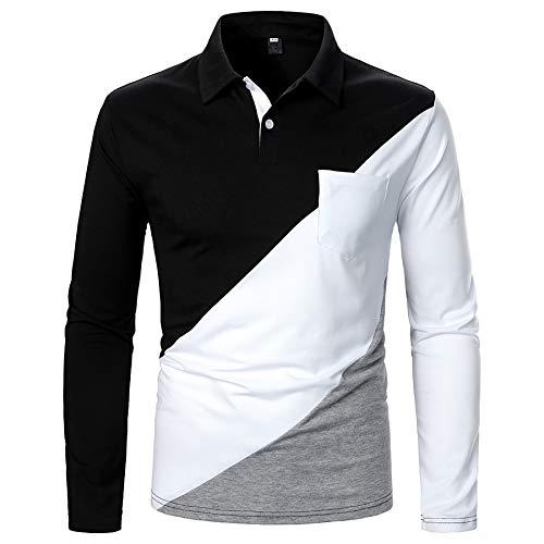 Derrick Aled(k) zhuke Polo para Hombre Tres Colores Solapa con Costuras Mangas Largas OtoñO Camiseta para Hombre Tops Calle Informal A Juego