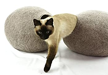 Kivikis Cat Bed, Cat House, Cat Cave L.Natural Sheep Wool. Fabriqué par
