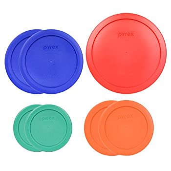 Pyrex  1  7402-PC 6/7 Cup Red  2  7201-PC 4 Cup Cobalt Blue  2  7200-PC 2 Cup Orange  2  7202-PC 1 Cup Green Food Storage Lids - 7 Pack
