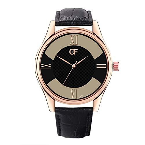 Armbanduhren Herren Quarzuhr,Evansamp 2020 Neue Lederband Quarzuhr Luxusuhren Edelstahl Casual Armbanduhr(L)