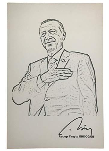 YSN Home Collection Gök-Türk Wandbild Recep Tayyip Erdogan A4 Bild für Wohnzimmer Büro Wohnung Deko Kunstdruck 20 x 30 cm