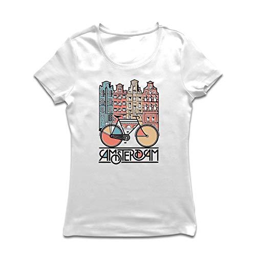 lepni.me Dames T-shirt Vintage Bike Amsterdam Stad Nederland Vakantie Reizen