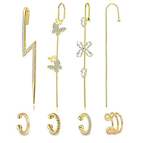 Pendientes de gancho para mujer con diseño de orugas de oro para orejas, piercing de oreja, gancho de plata