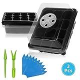 ANBET 3 PACK Set de iniciación de semillas de plantas con bandeja de plántulas de domo de humedad ajustable para cultivo de germinación, cultivo de invernadero (12 celdas por bandeja)