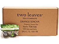 Two Leaves and a Bud Organic Orange Sencha Green Tea Bags, 100 Count, Organic Whole Leaf Moderate Caffeine Green Tea in Pyramid Sachet Bags, Delicious Hot or Iced with Milk, Sugar, Honey or Plain