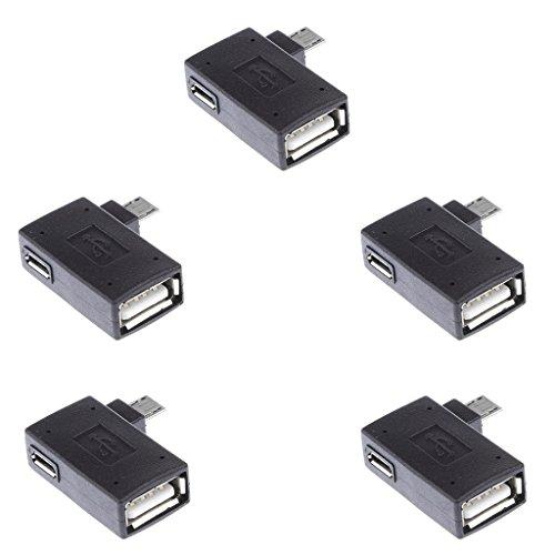 non-brand sharplace 5pcs On-The-Go OTG Lector OTG 90Grados de ángulo de Izquierda Adaptador Micro USB 2.0OTG Adaptador de Host para Android Tablet/teléfono