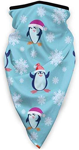 Winddichte Skimaske, Sport-Gesichtsmaske, Motorrad-Halswärmer, Schal, mit lustigen Pinguine in einer roten Mütze und Schneeflocken, Sturmhaube, Wärmespeicherung Gr. Einheitsgröße, siehe abbildung
