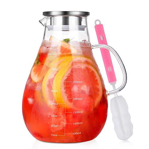 Glas Krug Karaffe mit Deckel, Wasserkaraffe 3 Liter, mit Deckel Edelstahl und Ausgießer aus hitzebeständigem Borosilikatglas für kalt & heiß Getränke/Eistee/Milch/Kaffee/Wein mit Henkel - 3L (105oz)