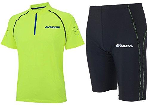 Airtracks FUNKTIONS-LAUFSET - Laufhose KURZ NEON/Running Hose + Laufshirt Kurzarm PRO Team/Running T-Shirt - neon-schwarz - L
