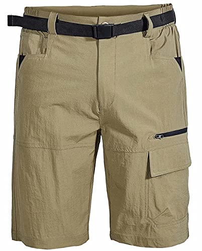 Msmsse Men's Outdoor Lightweight Hiking Shorts Quick Dry Casual Sports Cargo Shorts with Pockets Khaki US 38/Asian 5XL