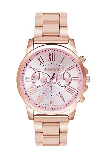 New Trend - Love for Accessories Damen Uhr analog Quarzwerk mit Edelstahl-Armband nt_07_01_000273_Rosegold