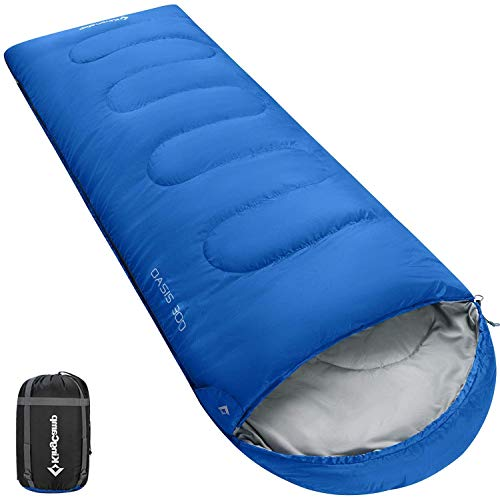 KingCamp Oasis Schlafsack Deckenschlafsäcke mit Kopfteil breit für Erwachsenen 4 Jahreszeiten Warm Koppelbar, Blau, 220 × 80 cm