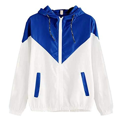 Sweatshirt Damen Casual Running Atmungsaktive Reißverschlusstasche Langarm Herbst Trend Classic All-Match Damen wasserdichte Jacke Damen Hoodie Blue(A)_ XL