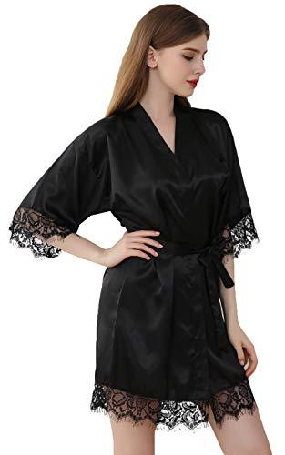 DF-deals Women's Satin Kimono Robes Short Silk Bride and Bridesmaids Wedding Party Robe with Lace Trim Black Medium
