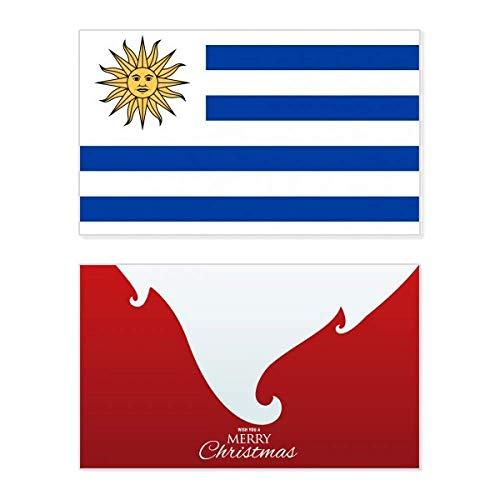 Uruguay Nationalflagge Südamerika Land Urlaub Merry Christmas Karte Weihnachten Vintage Nachricht