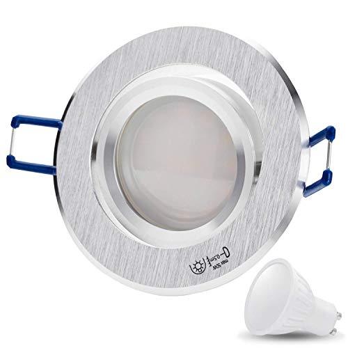 Kit Star rond Mat Câble de raccordement avec douille GU10 Chromé/argent 230 V avec LED 7 W blanc froid LED (15 cm) SMD Spot Plafond Encastrable Spots encastrés plafond spots Aluminium [orientables], Aluminium, Lot de 10, GU10 7.0 watts 230.00 volts