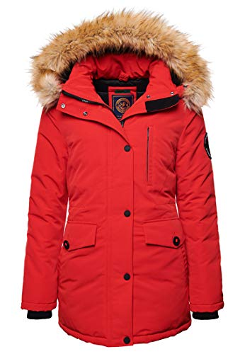 Superdry Womens Everest Parka Jacket, High Risk Red, S (Herstellergröße:10)