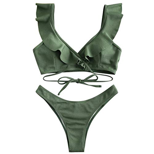 YANFANG Conjunto de Bikini de Mujer Traje de baño Acolchado con Volantes Traje de baño de Cintura Alta Ropa de Playa,Bikini de Moda de Verano Push Up Traje de baño Acolchado