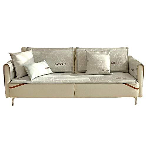 YUTJK El sofá de Verano se Puede Usar para el sofá de Cuero,Cotton Printed Corner Sofa Slipcover,Living Room Fabric Sofa Seat Covers,Furniture Protector Cover,Gris_70×90cm