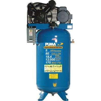 Puma Belt-Drive Stationary Vertical Air Compressor - 80-Gallon Vertical, 5 HP, 18.4 CFM, Model Number TN5080VM by Puma