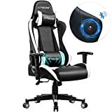 GTRACING Gaming Chair with Speakers Massage Wireless Bluetooth Audio Chair for Pro Gamers Fabulous Game Experience Music Play Home Theater Desk Chair (White)