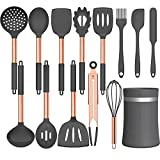 Umite Chef 14 pcs Silicone Cooking Utensils Kitchen Utensil Set - 446°F Heat Resistant, Kitchen Gadgets Tools Set with Stainess Steel Handles for Non-stick Cookware(Grey, BPA Free)
