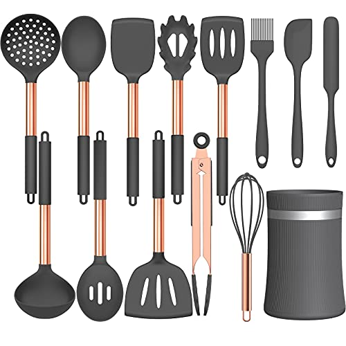 Umite Chef 14 pcs Silicone Cooking Utensils Kitchen Utensil Set - 446°F Heat Resistant, Kitchen Gadgets Tools Set with Stainess Steel Handles for Non-stick Cookware(Grey)