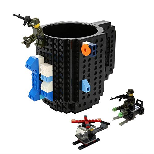 DIY Brick Mug-Fubarbar Creative Building 12oz Coffee Cup, Build a Brick Desk Drinkware, Funny Toy with 3Pack Blocks for Kid Birthday Gift, Christmas, Party, Xmas (Black)