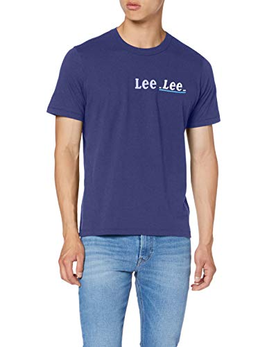 Lee Small Logo tee Camiseta, Azul (Blueprint LGH), Hombre
