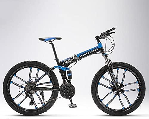 Bicicleta de montaña plegable para hombre y mujer, para alumnos intermedios, off-road, amortiguador doble amortiguador, diez cuchillas, color negro y azul