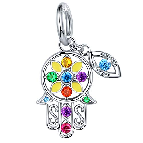 FOREVER QUEEN Hamsa Hand Charm fit Pandora Charms Bracelet, 925 Sterling Silver Good Luck Vintage Fatima Hand Dangle Charms Pendant with Blue Evil Eye for Snake Chain Bracelet Necklace FQ0053