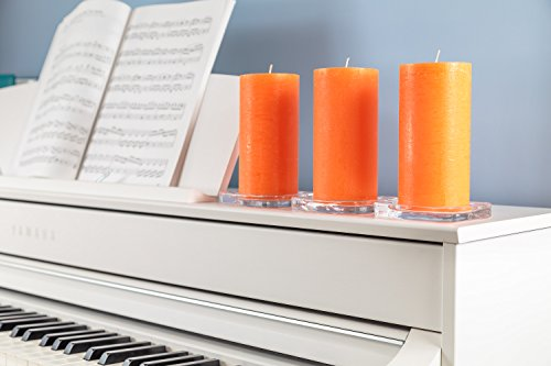 """Set of 3 Orange Pillar Candles 3"""" x 6"""" Unscented for Weddings, Church, Home Decoration, Restaurants, Spa, Smokeless Cotton Wick - Rustic - Fragrance-Free by Melt Candle Company"""