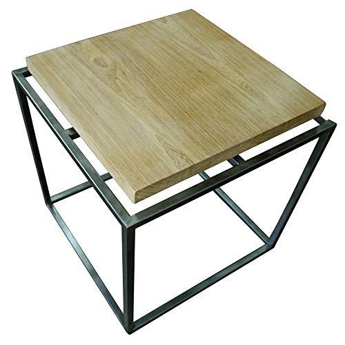 JIAYUAN Mesa auxiliar de hierro forjado, estilo industrial nórdico, mesa de centro creativa pequeña mesa auxiliar simple retro de hierro forjado sofá de madera maciza mesa auxiliar pequeña