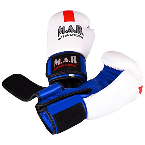 M.A.R International Ltd. Designer Boxing/Kickboxing/Thai Boxing Gloves with Moulded Foam Padding and St George's Flag Design – Thumb Lock Design, Rex Leather 10-oz (NCAT-115)